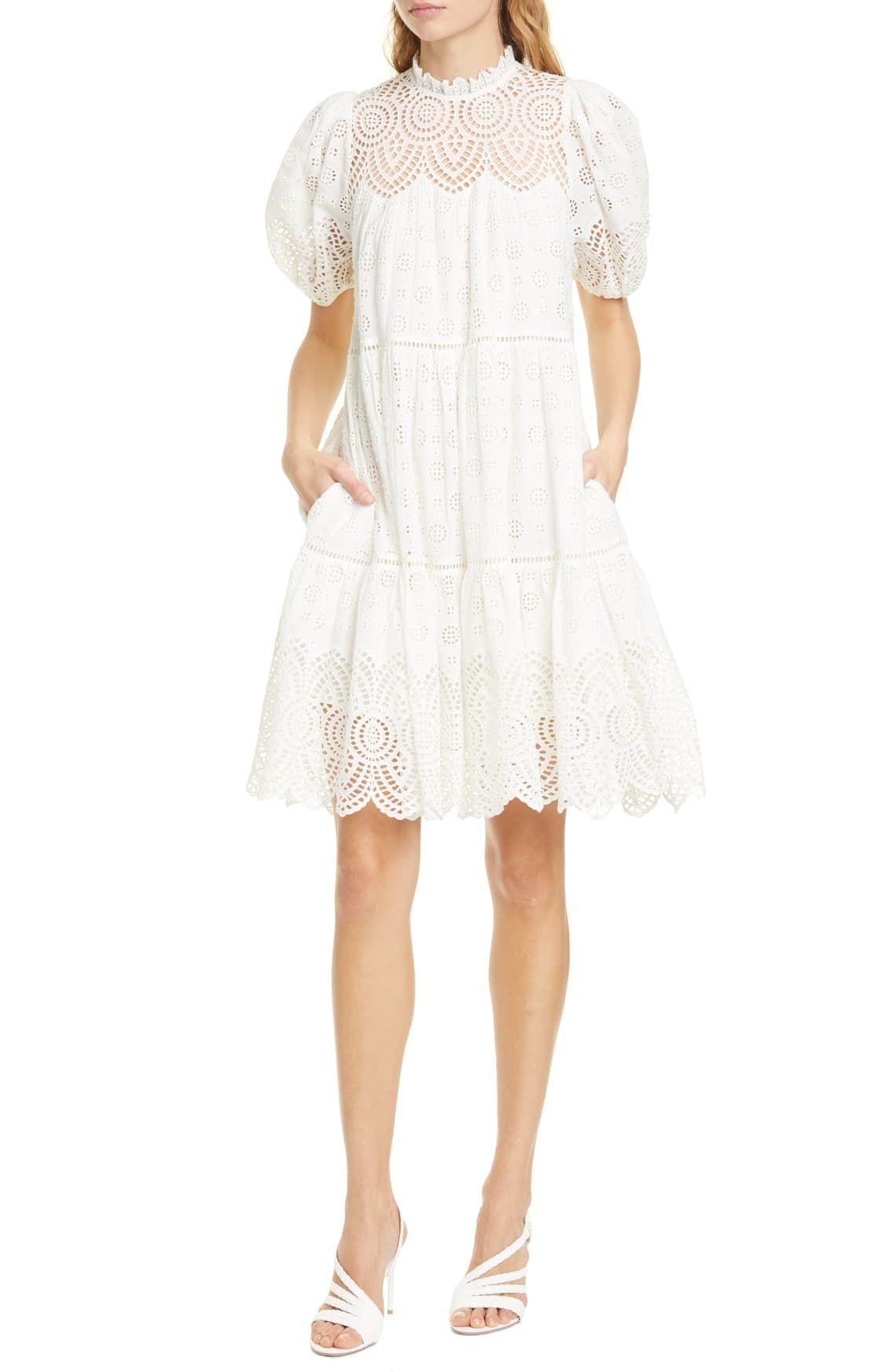 Ulla Johnson Simone Puff Sleeve Eyelet Shift Dress Nordstrom Shift Dress Long Sleeve Silk Dress Womens Dresses [ 1746 x 1140 Pixel ]