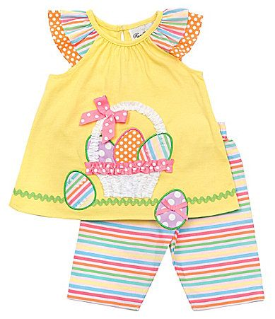Rare Editions Infant Easter Egg Top and Striped Leggings