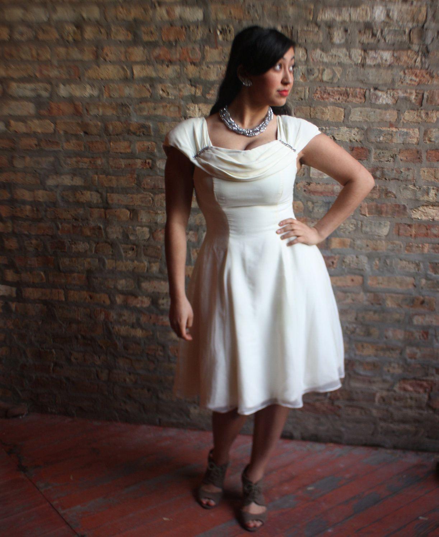 Wedding dress with bow on back  SALE Short Wedding Dress s  s Dress  Reception Dress