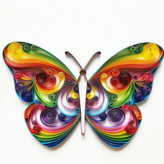 Quilled paper art colourful butterfly handmade for Quilling home decor
