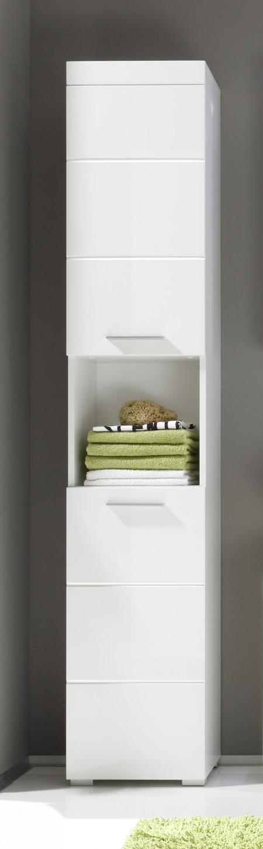 Badezimmer Hochschrank Weiß Hochglanz Woody 93-00795 Weiss Modern