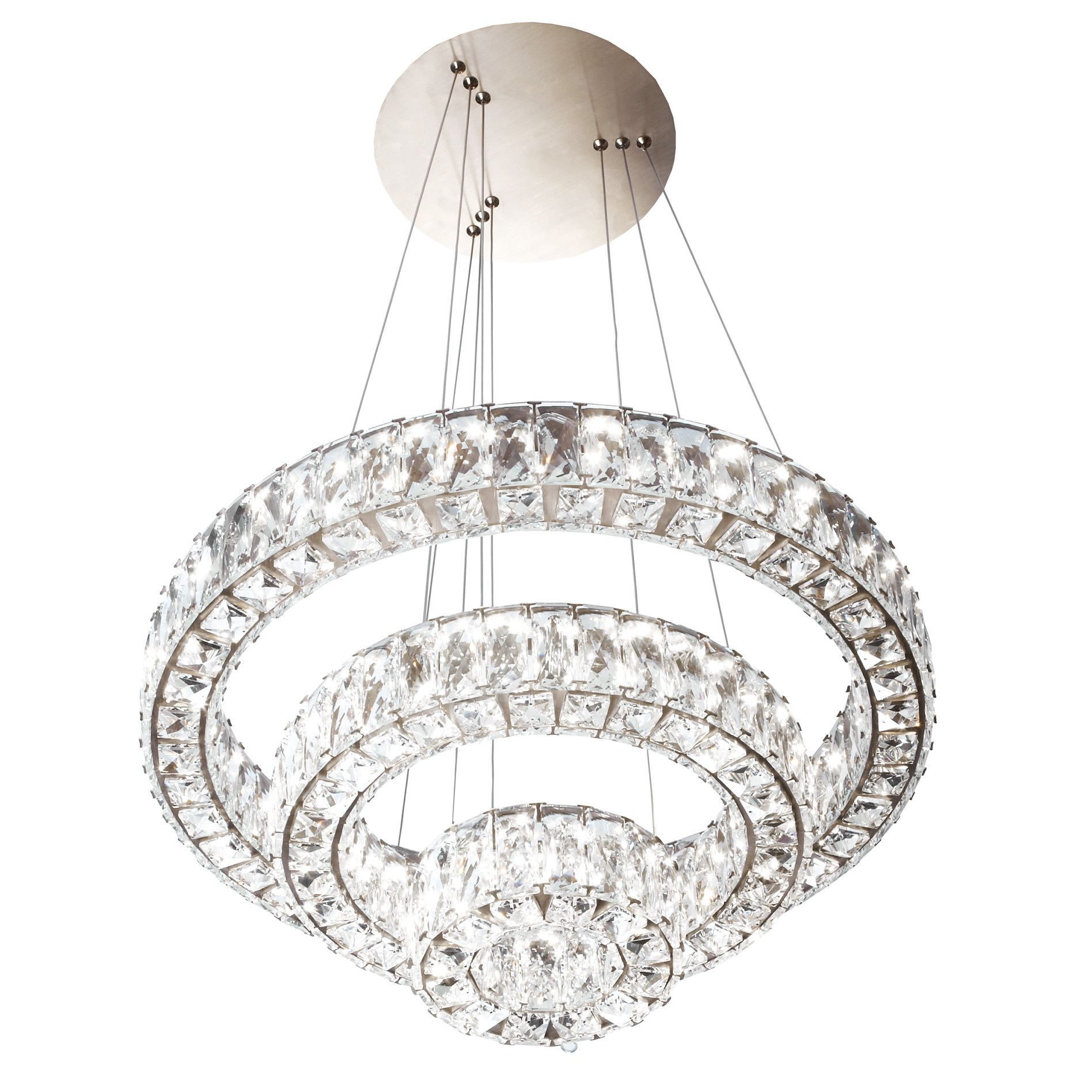 Huge Clear Constellation Three Ring Crystal Led Chandelier