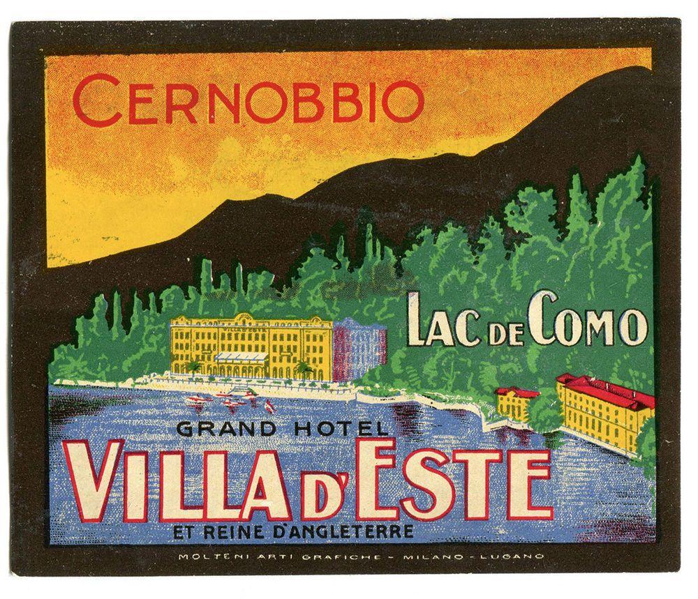 Hotel Villa Deste Como: HOTEL VILLA D'ESTE CERNOBBIO LITHO Kofferaufkleber Luggage