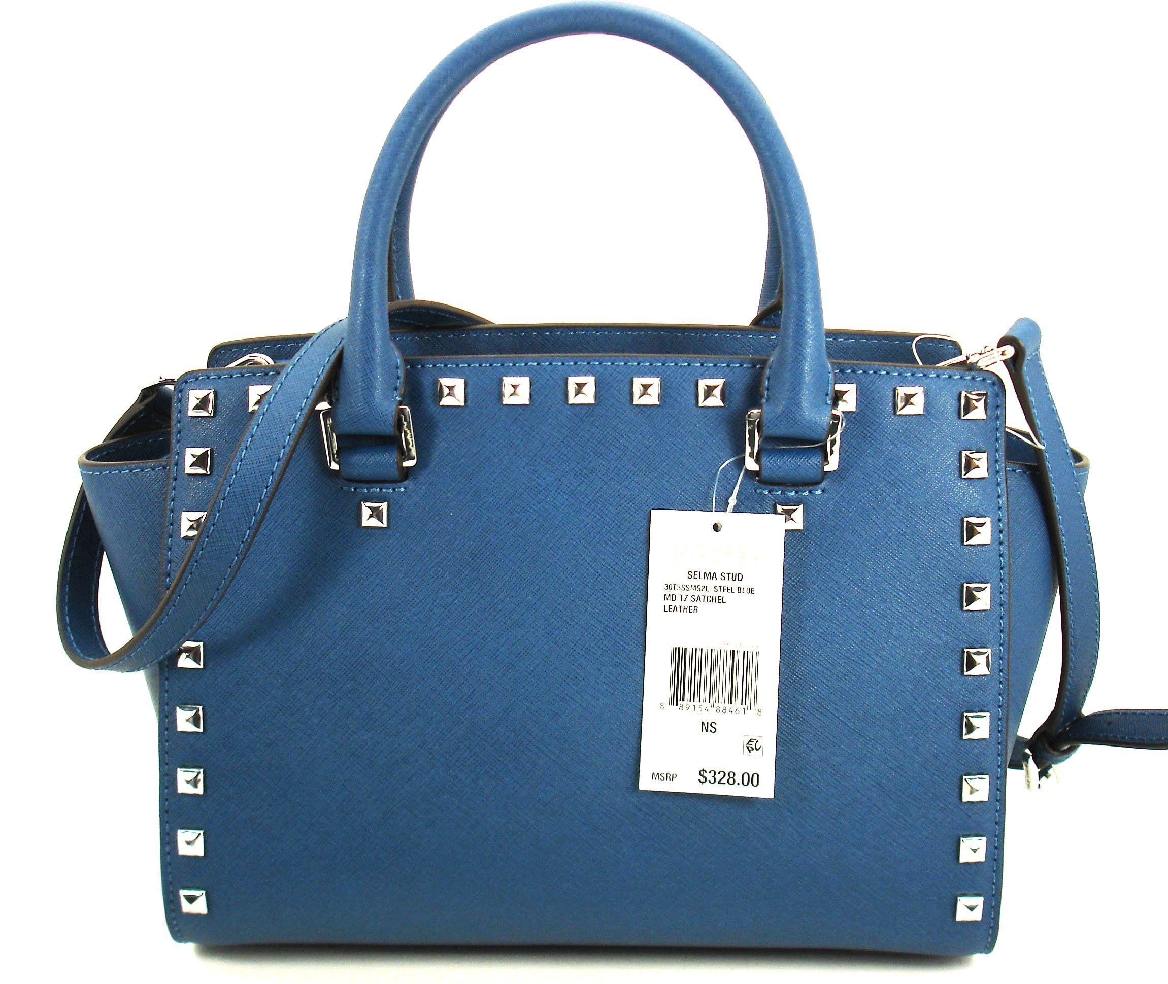 33c36393001a Michael Kors Selma Stud Medium Top Zip Saffiano Leather Satchel Steel Blue     To view
