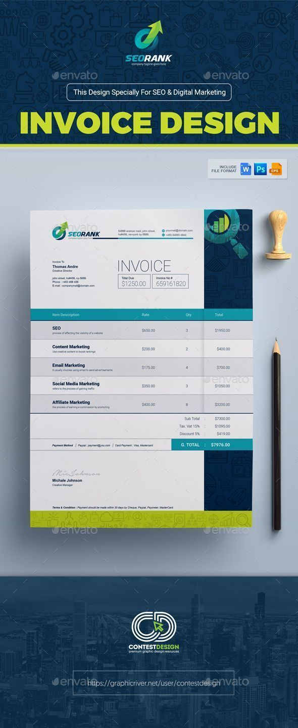 Invoice Template For SEO Search Engine Optimization Digital - Seo invoice template