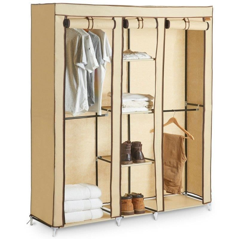 Triple Canvas Wardrobe Cupboard Home Clothes Hanging Rail Storage Shelves Beige Unbranded Space Canvas Wardrobe Hanging Rail Cupboard Storage