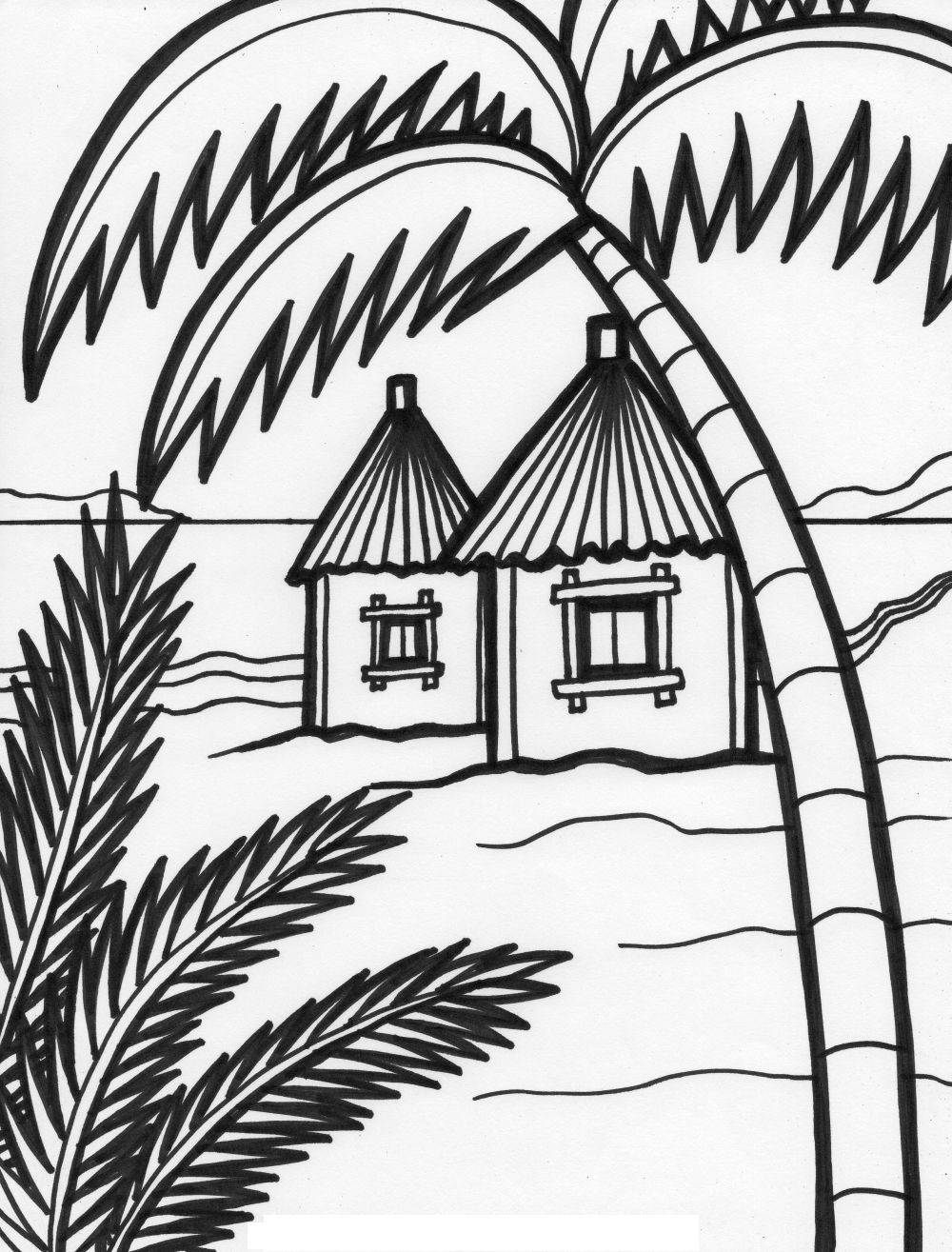 Beach House Coloring Pages Kids Coloring Pages Outline