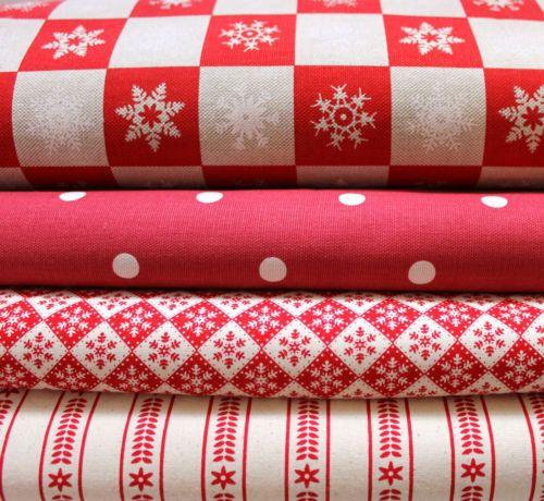 NORDIC-SCANDINAVIAN-CHRISTMAS-SNOWFLAKE-SPOT-TICKING-STRIPE-RED-FABRIC-BUNDLE-D