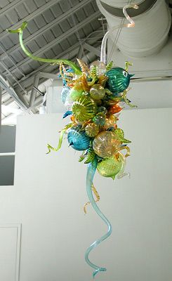 Dale Chihuly, Teal, citron & amber chandelier, 2002