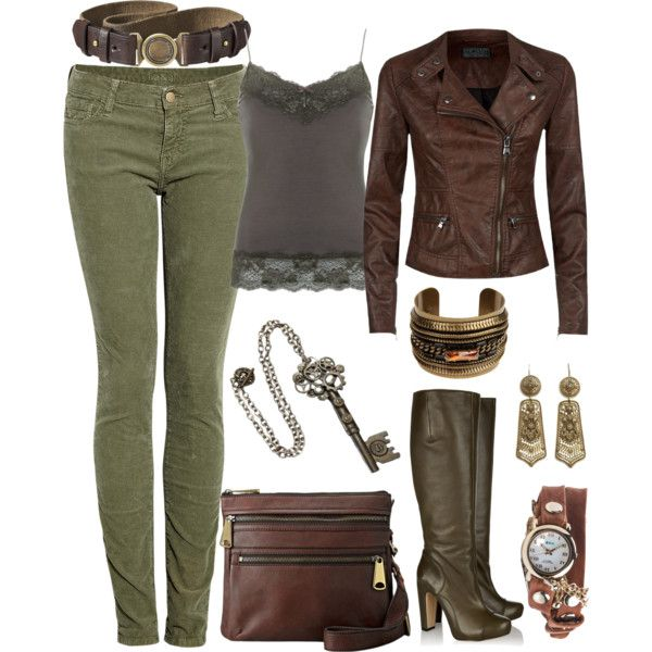 U0026quot;Olive Green Fall Outfitu0026quot; by laura-blakney on Polyvore military chic olive green brown grey ...