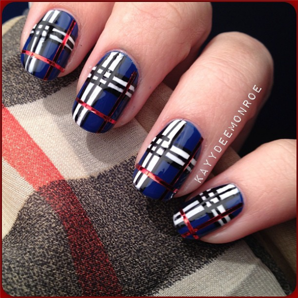 5 Nail Designs Inspired By Fabric Plaid Nails By Ig Kaydeemonroe Blue Red White Black Nail Polish School Plaid Nails Plaid Nail Art Plaid Nail Designs
