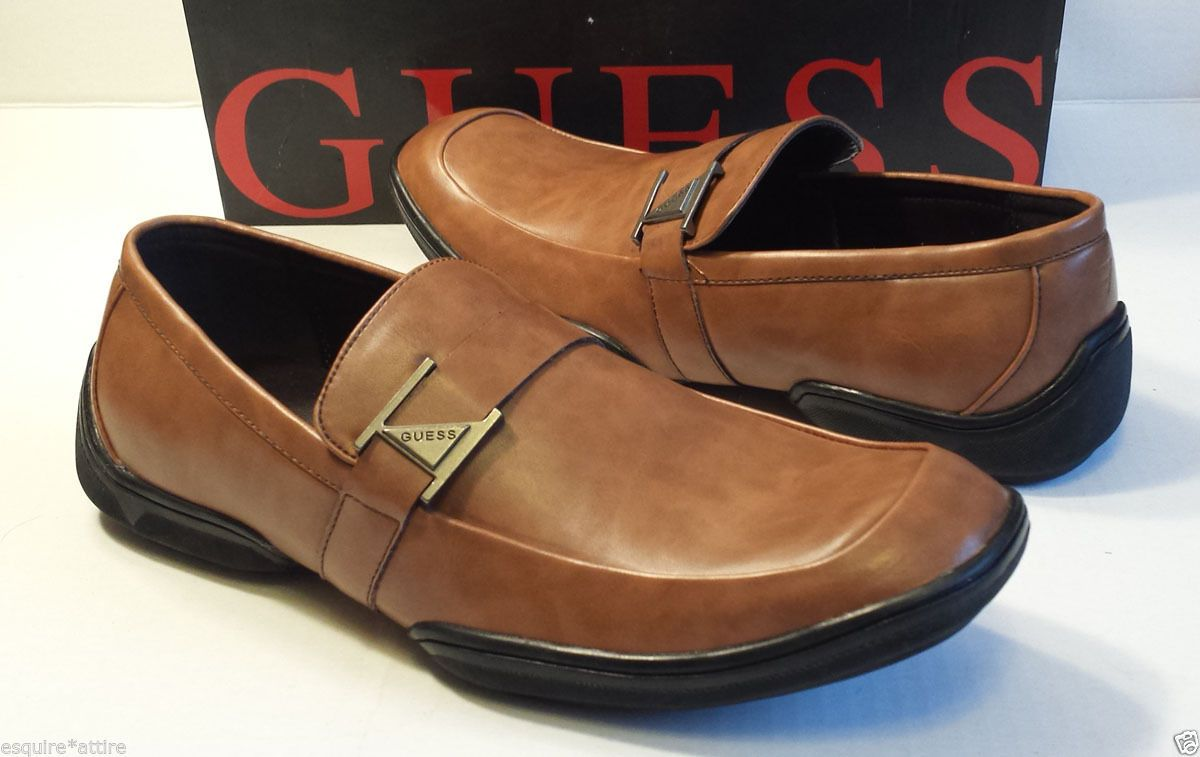 ba02e06f615 GUESS Men Size 8.5 Loafers Brown GMCARVER Faux Leather Slip On Shoes ...