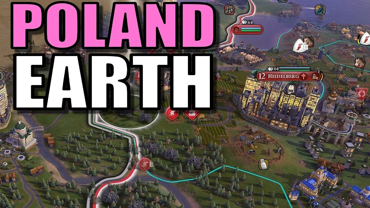 Civ 6: Poland Gameplay [True Start Earth Location Map] Lets