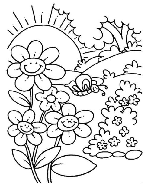 preschool coloring pages for spring | Flower Spring Day Coloring Pages | Spring coloring pages ...