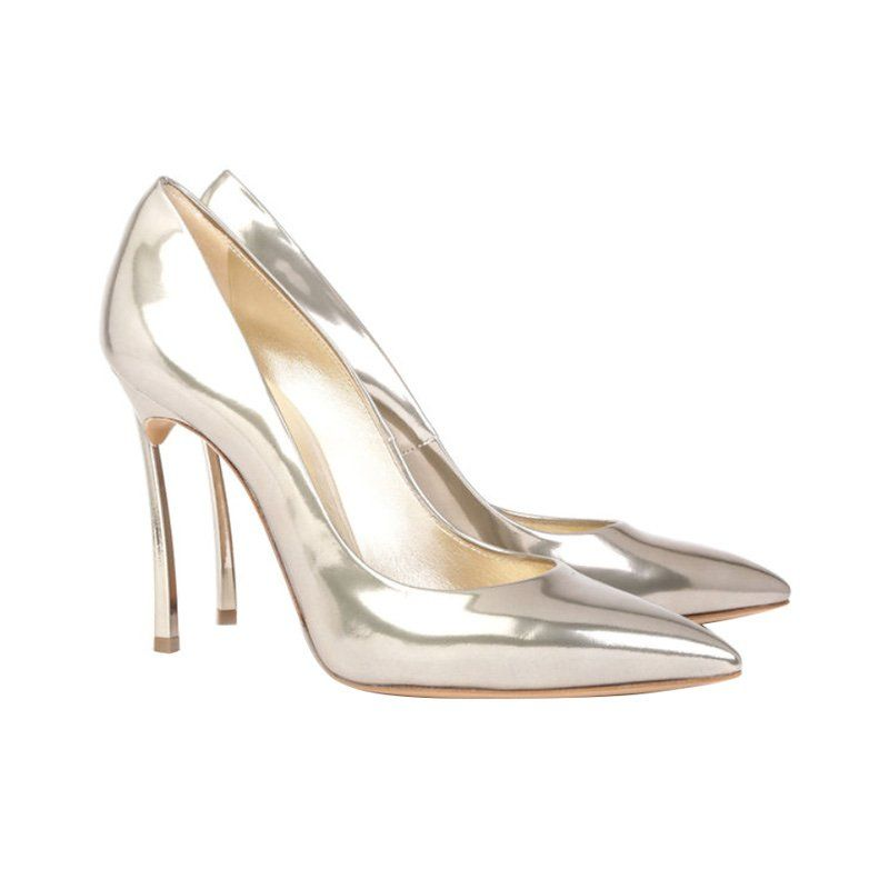 Metallic Bridal Shoes Casadei Blade Pump 695 Us Bridalshoes Wedding