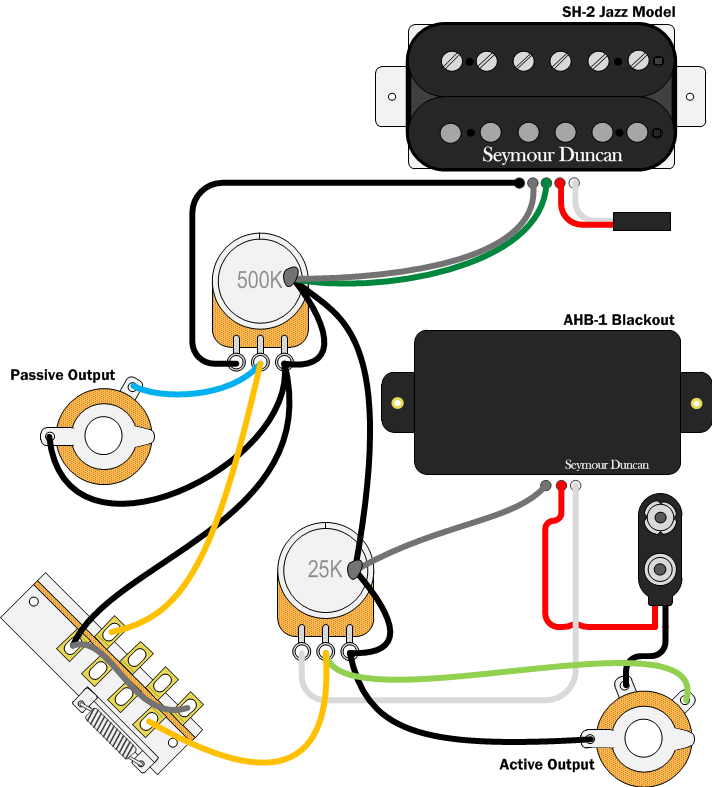 active and passive in the same guitar can it be done seymour rh pinterest com Super Jackson V Wiring Diagram Jackson Active Pickup Wiring Diagram