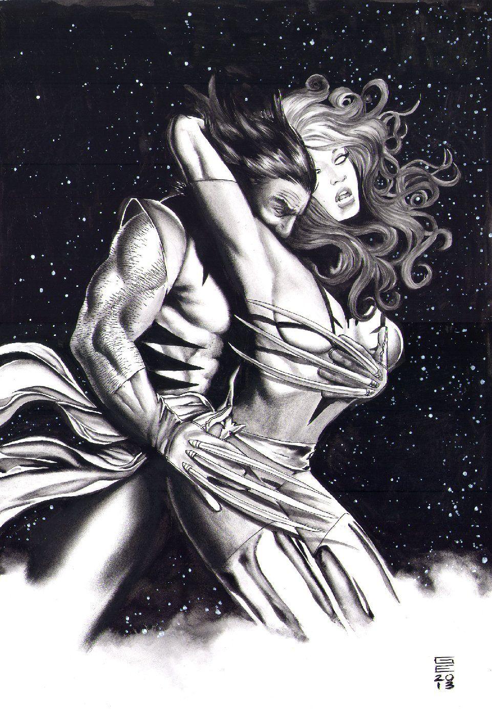 Dark Phoenix and Wolverine by Gene Espy