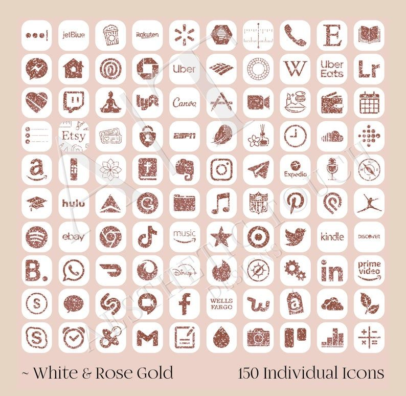 iOS14 Rose Gold Glitter Icon Pack | Rose Gold iPho