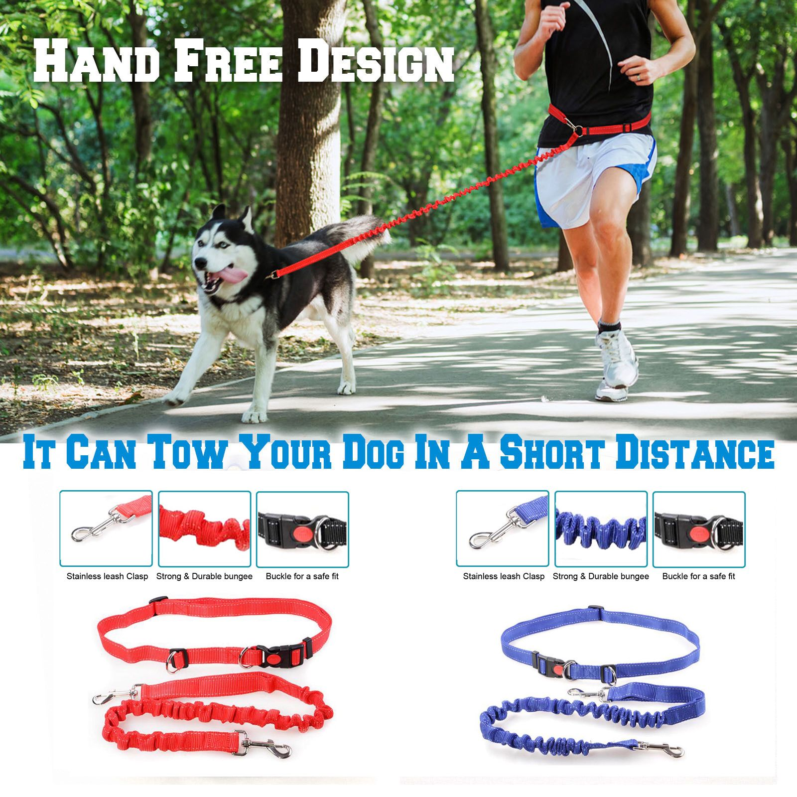 10 5 For Colormilky Hands Free Dog Leash Dogs Running Lead Bungee Blue In 2020 Hands Free Dog Leash Pet Training Dog Leash