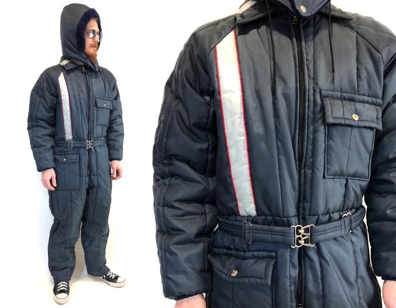 vintage mod striped snowsuit snow snowmobile suit jumpsuit on men s insulated coveralls with hood id=68136