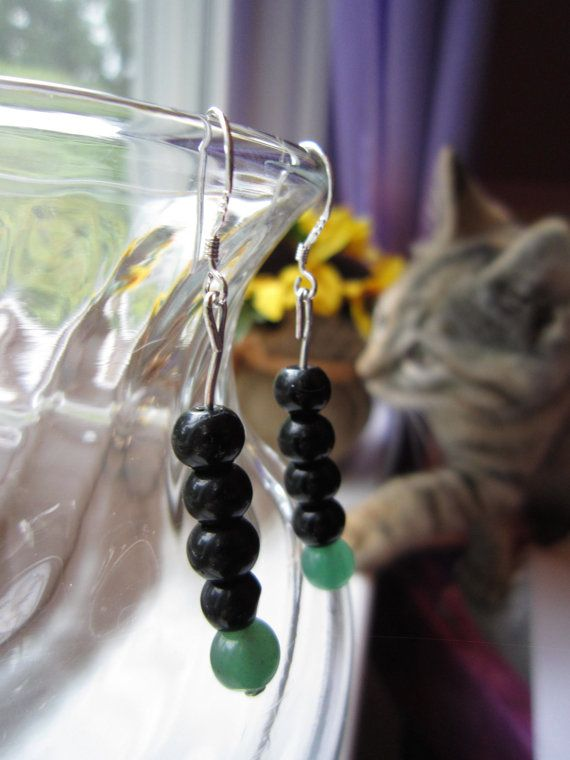 Aventurine and Obsidian Long Beaded Drop Earrings