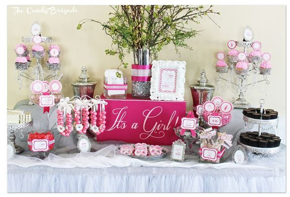 pink candy buffet for an elegant baby shower in connecticut candy table classy parties
