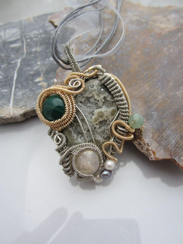 GoodVibesbyMeg OOAK Jasper Wire Wrap Handmade Bronze Stone Wire Wrap Ocean Jasper Wire Wrapped Necklace Bronze Wire Wrapped Necklace