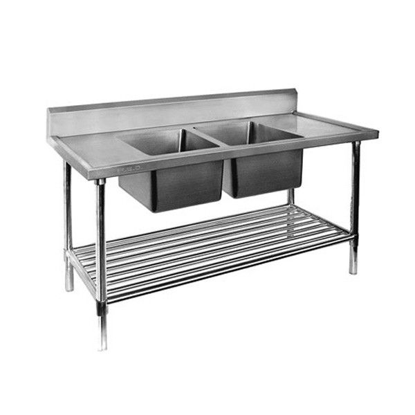 All Stainless Steel Double Centre Sink Bench With Pot Undershelf