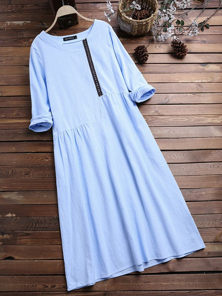 2b1d415a5b ... Long Sleeve Cotton Dress. ZANZEA Vintage Patchwork A-line с длинным  рукавом из хлопка онлан - NewChic