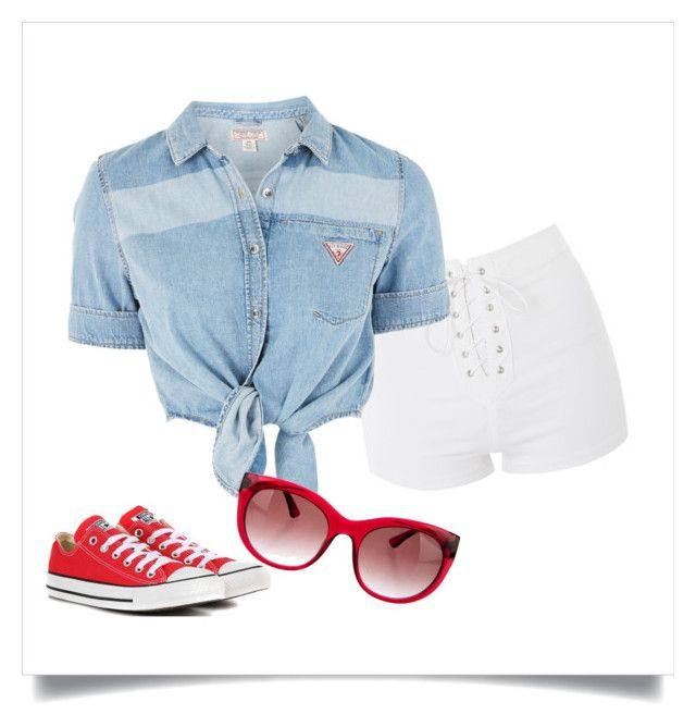 """""""july fourth"""" by lilythai ❤ liked on Polyvore featuring Topshop, Thierry Lasry and Converse"""