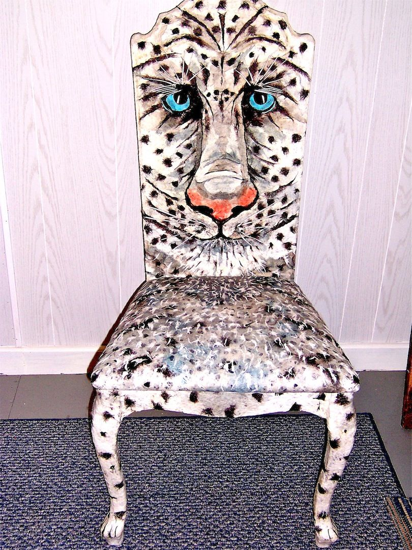 Decorated Chairs for Charity | Snow Leopard Chair – Donated to Charity and auctioned off for $500
