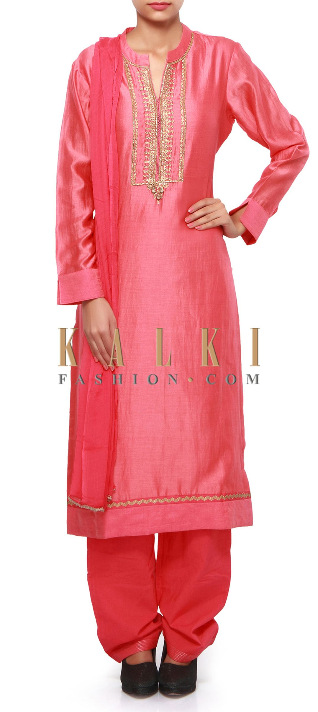 Buy Online from the link below. We ship worldwide (Free Shipping over US$100). Product SKU - 301600.Product Link - http://www.kalkifashion.com/peach-straight-suit-featuring-in-sequin-and-zardosi-embroidery-only-on-kalki.html