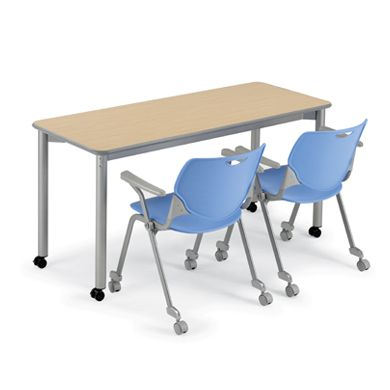 These tables could be along side the windows, then moved over to the center of the library when needed for class. They come in all different shapes and sizes too, so they can be reconfigured for group work or individual.