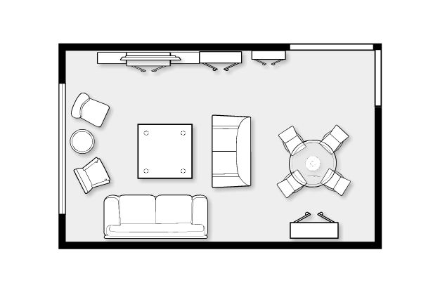 Living Room Furniture Layout With Fireplace Small