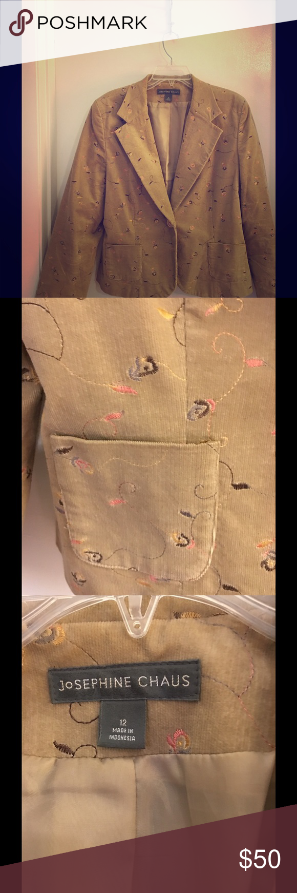 """Beautiful Embodied Blazer by Josephine Chaus High level of workmanship, comfort, style and classy. The neutral beige can go with anything but picking up the orange color would really make the blazer """"POP"""", Josephine Clause Jackets & Coats Blazers"""