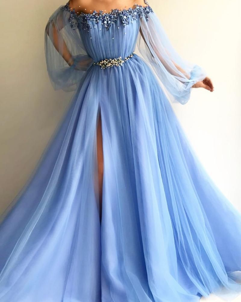 Baby Blue Off Shoulder Long Sleeve Exquisite Pearls Lace Tulle High Split Prom Gown Robes De Bal Bleues Robes De Bal De Promo Bleues Robe De Bal [ 1000 x 800 Pixel ]