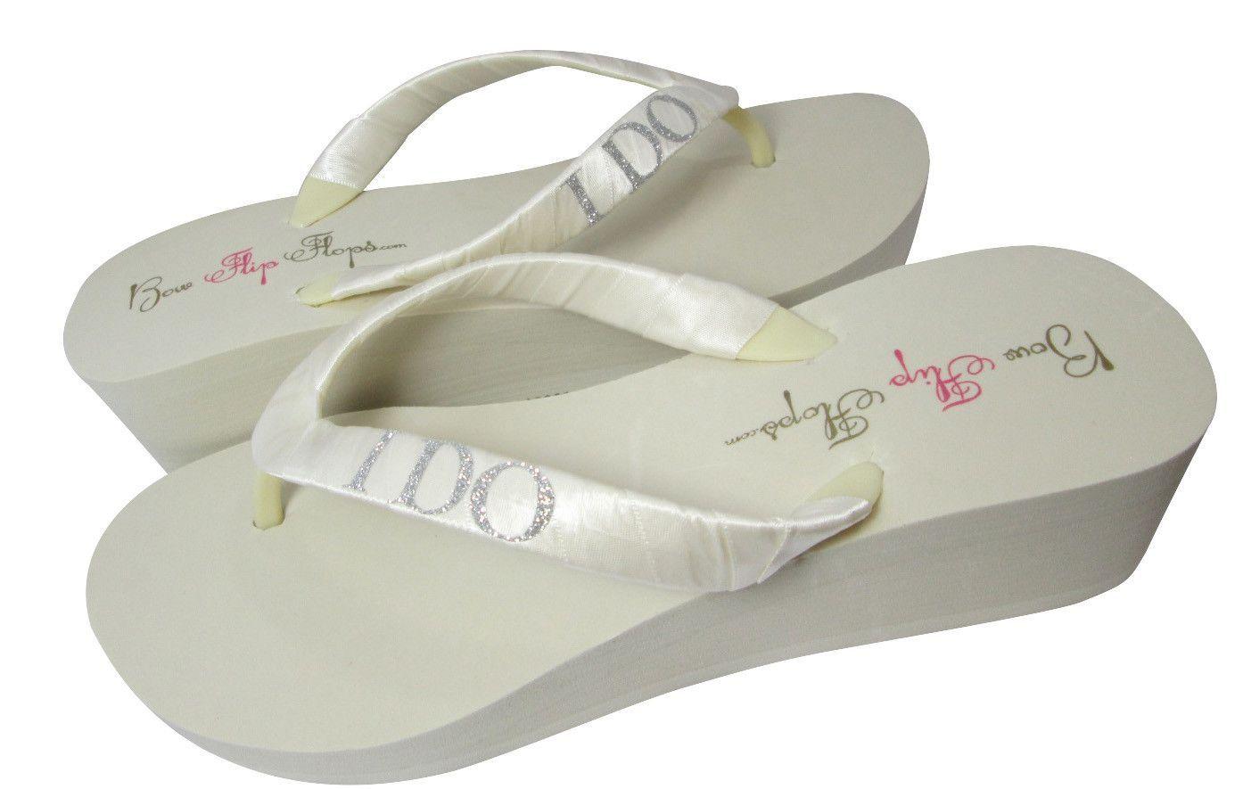 bdfb7d72edf38f Wedge Ivory I Do Flip Flops for the Bride- White -Silver Glitter- 2 inch  Heel