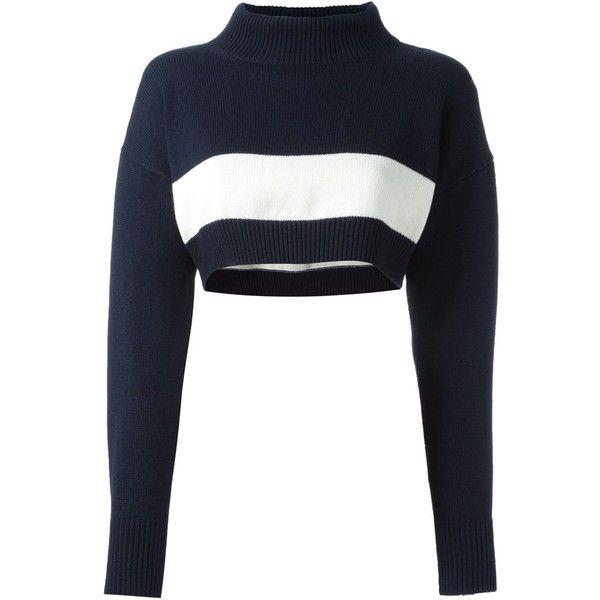 Jil Sander Navy Cropped Bandeau Turtleneck Sweater 322 Liked