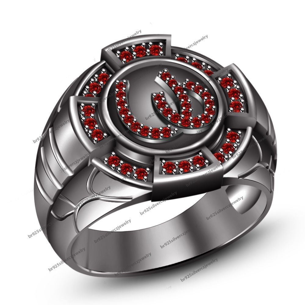 14Kt Black Gold Gp 925 Silver Round Cut Red Garnet Gents Horseshoe Fashion Ring #HorseshoeRing