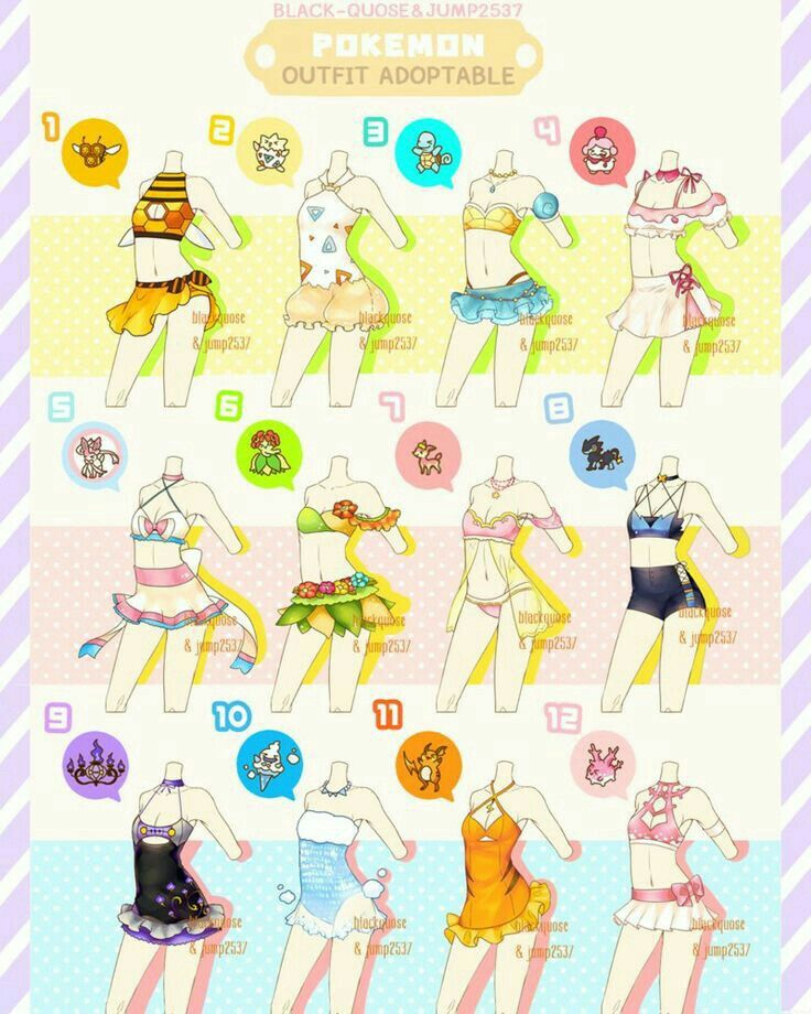 Swimsuits Text Girls How To Draw Manga Anime Pokemon Clothes