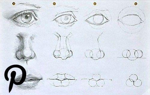 Augen, Mund und Nase zeichnen lernen. Schauen Sie diese ...