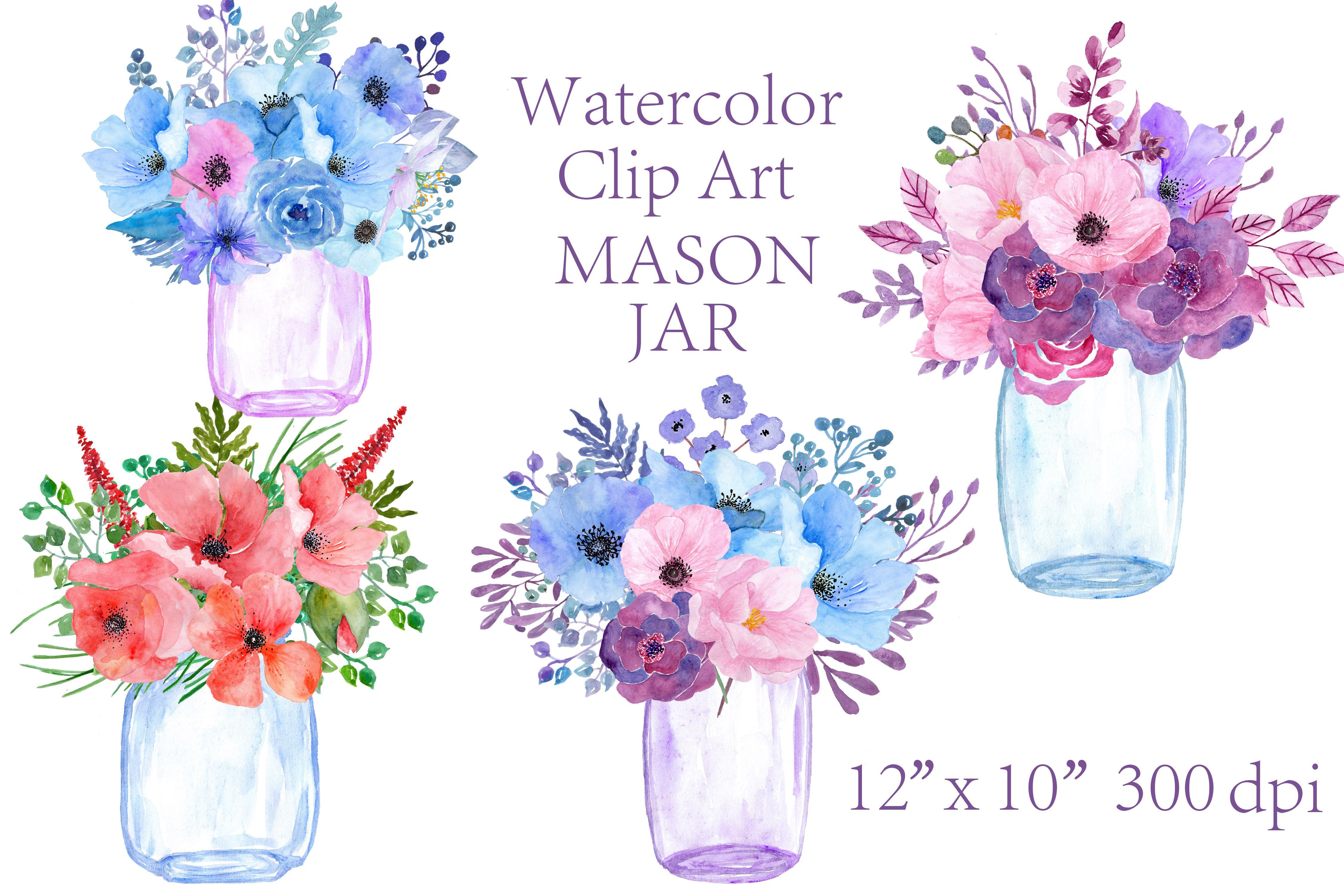 Watercolor Floral Mason Jars Clipart Floral Watercolor Clip Art