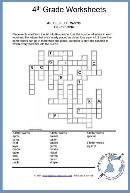 4th Grade Worksheets And Spelling Puzzles Spelling Worksheets With