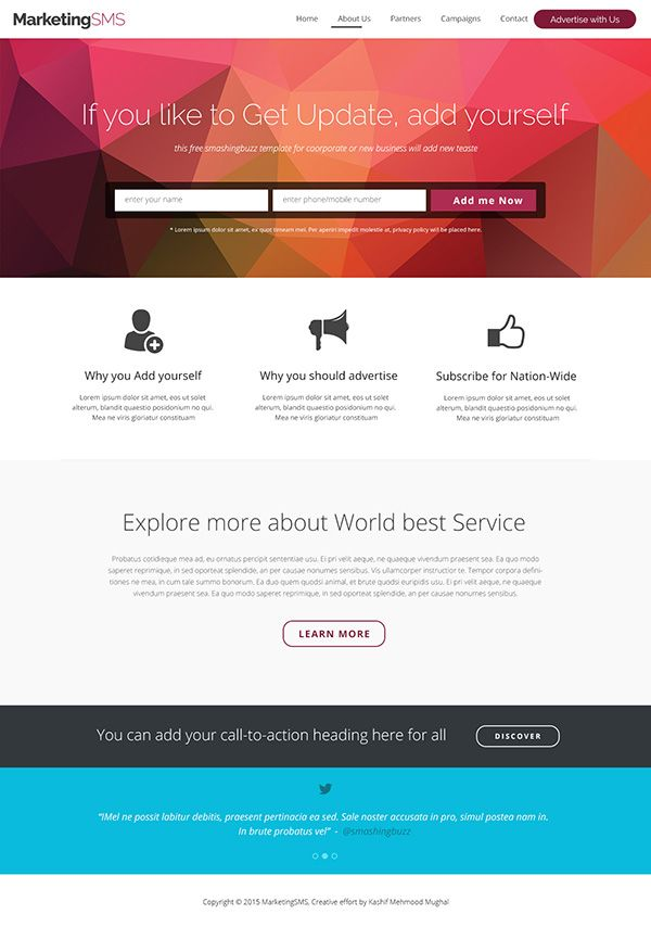 Free business landing page psd template free stuff pinterest free business landing page psd template flashek Image collections