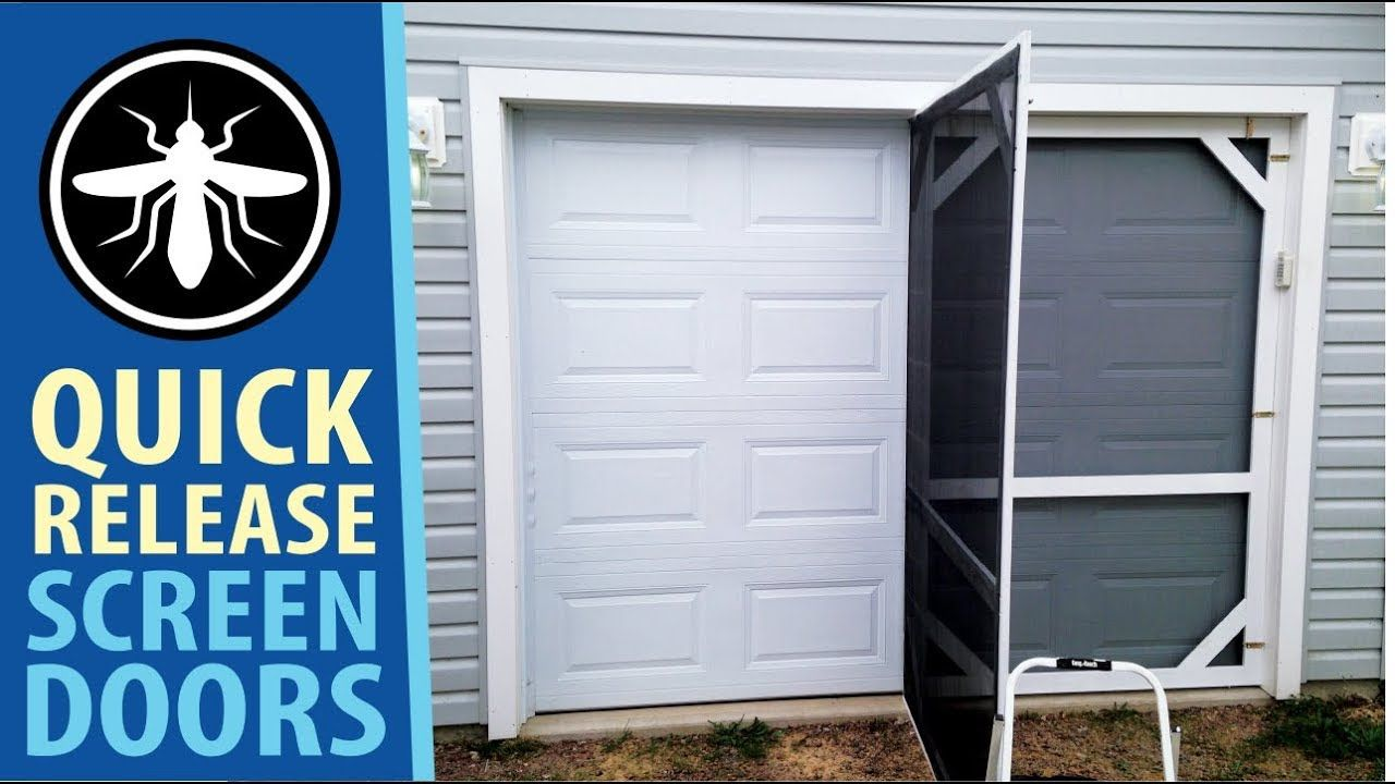 Diy Garage Screen Doors Quick Release Hinged Youtube Garage Screen Door Diy Screen Door Screen Door