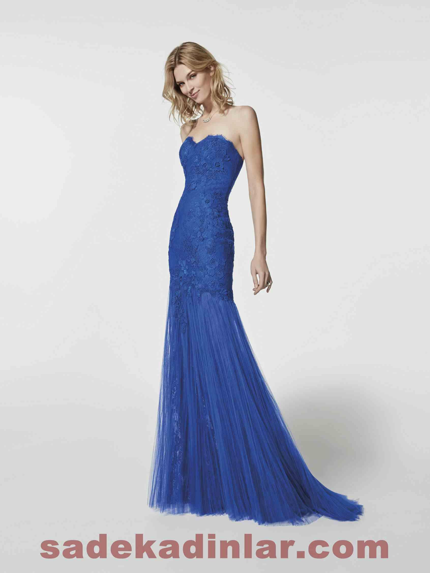 Pronovias Abiye Modelleri 2018 Balik Elbise Dekolteli Dantel Islemeli Abiye Elbise Aksamustu Giysileri The Dress Dantel Elbise