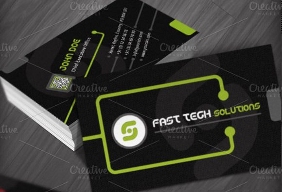 Technology Business Cards Templates Business Card Template Design Business Card Template Qr Code Business Card