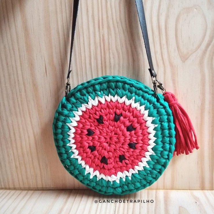 79ecc557d Crochê com fio de malha / bolsa redonda / melancia | Como crear ...