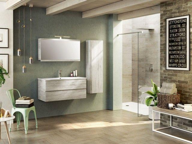 Arredo Bagno Blum : Composizione mobile bagno woody composta da base lavabo cm