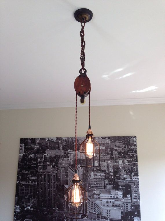 Steampunk Wood Barn Pulley Pendant Light Copper by TheVintageBulb, $165.00  New Sydney Pad